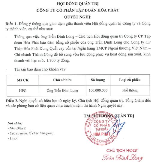 Tỷ phú Trần Đình Long đem tài sản cá nhân ra 'cầm cố' - ảnh 1