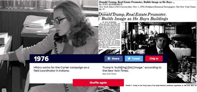 """Năm 1976: Hillary Clinton làm việc cho chiến dịch tranh cử của cựu Tổng thống Jimmy Carter ở Indiana. Doanld Trump lúc đó """"đang bắt đầu xây dựng hình ảnh"""" cá nhân, theo New York Times."""