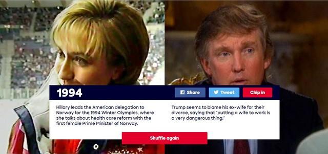 Năm 1994: Trong khi Hillary Clinton dẫn đầu đoàn đại biểu Mỹ tới Na Uy để thảo luận về việc cải cách hệ thống chăm sóc sức khỏe với nữ Thủ tướng đầu tiên của Na Uy, Donald Trump đang vướng vào vụ lùm xùm ly dị với vợ cũ.