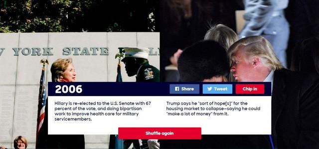 """Năm 2006: Bà Hillary được tái bầu làm Thượng nghị sĩ với 67% số phiếu ủng hộ, bà cũng nỗ lực để cải thiện chương trình chăm sóc sức khỏe cho các quân nhân Mỹ. Trong năm này, ông Trump nói rằng ông hy vọng thị trường nhà đất sẽ sụp đổ vì cho rằng có thể """"kiếm thêm nhiều tiền"""" từ sự sụp đổ đó."""