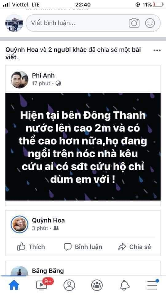 Lũ dâng trong đêm, người dân Quảng Trị lên mạng cầu cứu   - ảnh 1