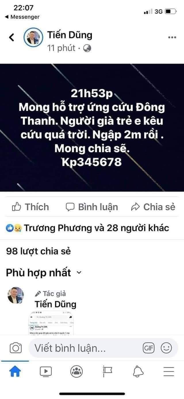 Lũ dâng trong đêm, người dân Quảng Trị lên mạng cầu cứu   - ảnh 2