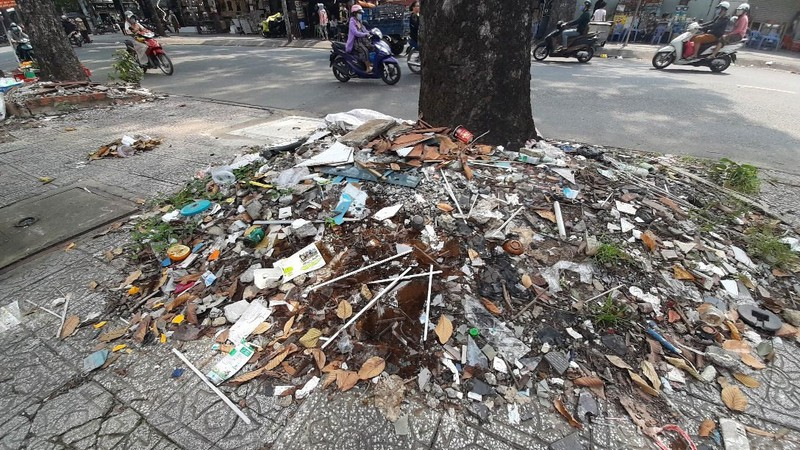 Những gốc cây 'nghẹt thở'  bởi rác xà bần - ảnh 1