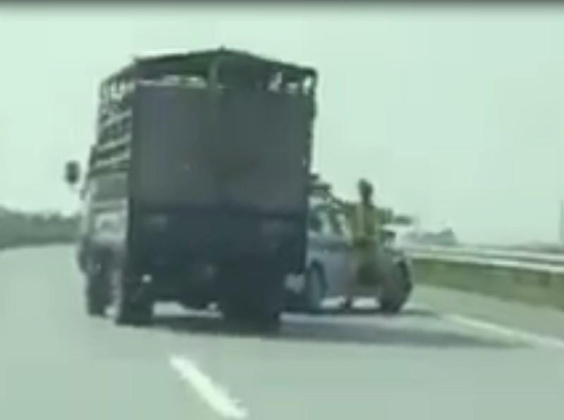 Xe chở heo đâm vào CSGT,phóng nhanh lên cao tốc bỏ chạy - ảnh 1