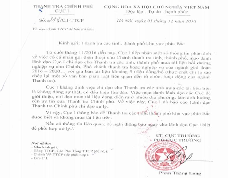 Mạo danh Thanh tra Chính phủ để… bán tài liệu - ảnh 1