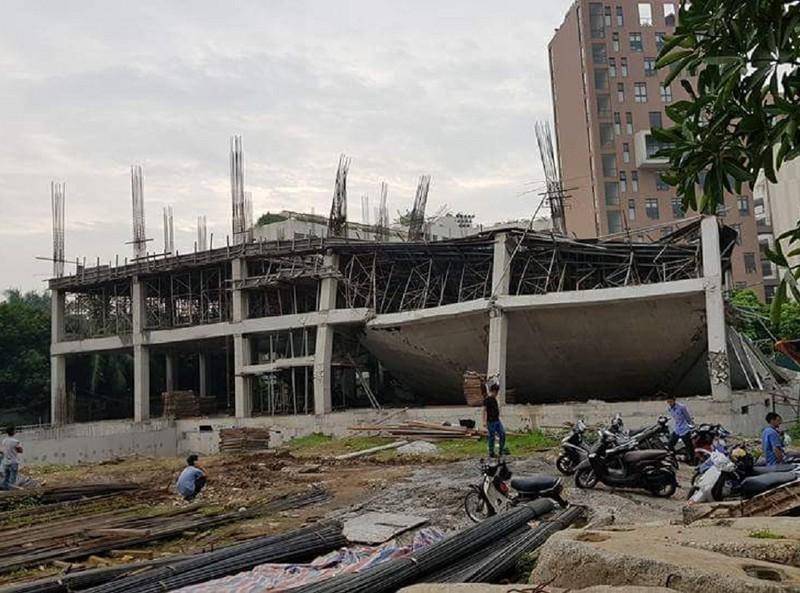 Trường mầm non ở Hà Nội sập khi đang đổ bê tông - ảnh 1