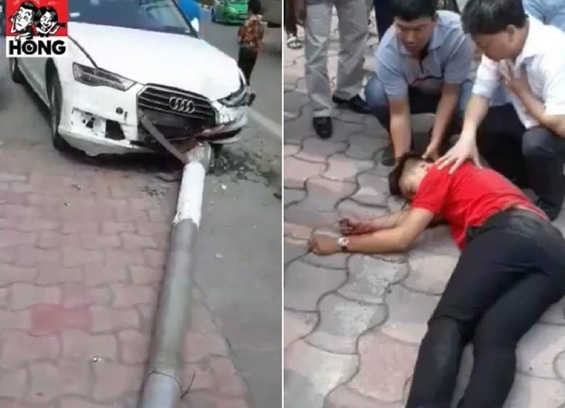 Xế hộp tông đổ cột điện, rơi trúng người đi đường - ảnh 1