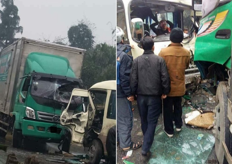 Xe khách 29 chỗ va chạm với xe tải, tài xế bị gãy chân - ảnh 1