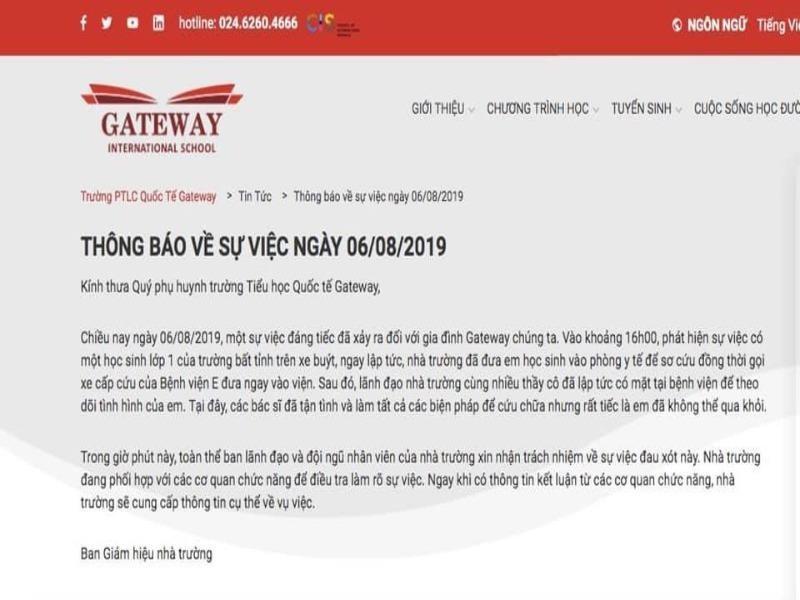 Trường Gateway tạm đình chỉ nhân sự sau vụ bé lớp 1 tử vong - ảnh 2