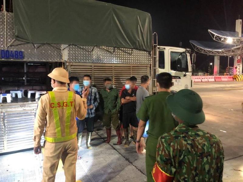 4 người trốn trong thùng xe chở heo để thông chốt kiểm dịch - ảnh 1