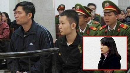 Nguyễn Mạnh Tường cùng đồng phạm (ảnh lớn) và vợ Tường - chị Nguyễn Thị Hằng tại phiên xử sơ thẩm (ảnh nhỏ)