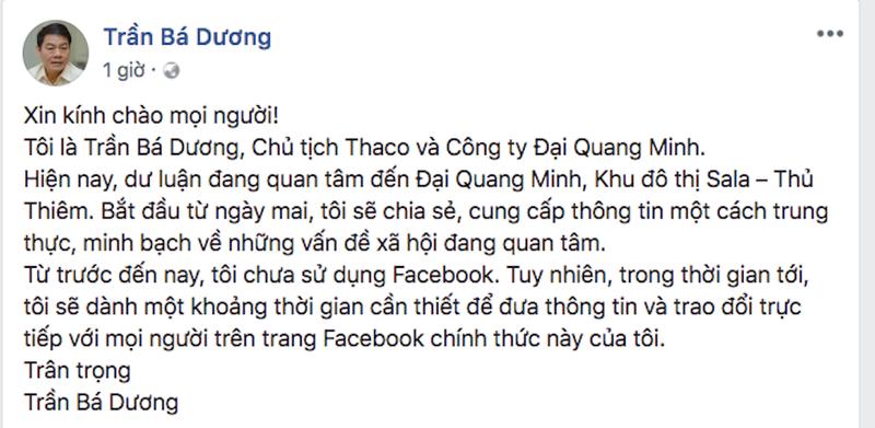 """TGĐ Đại Quang Minh lập Facebook đối thoại """"con đường dát vàng"""" - ảnh 1"""