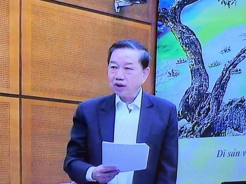 Bộ trưởng Bộ Công an Tô Lâm (ảnh chụp qua màn hình)