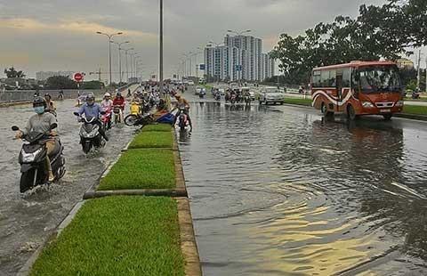 Cơn mưa ngắn 'nhấn chìm' đại lộ hiện đại - ảnh 1