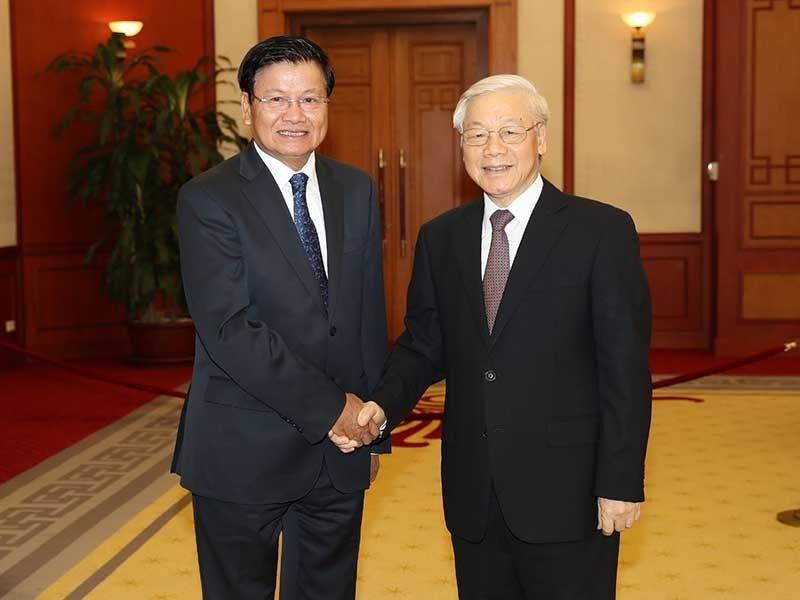 Tổng Bí thư Nguyễn Phú Trọng tiếp Thủ tướng Lào  - ảnh 1