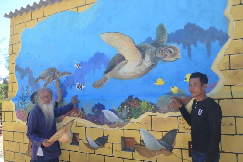 Ra Lý Sơn bảo vệ rùa biển bằng tranh bích họa 3D - ảnh 1