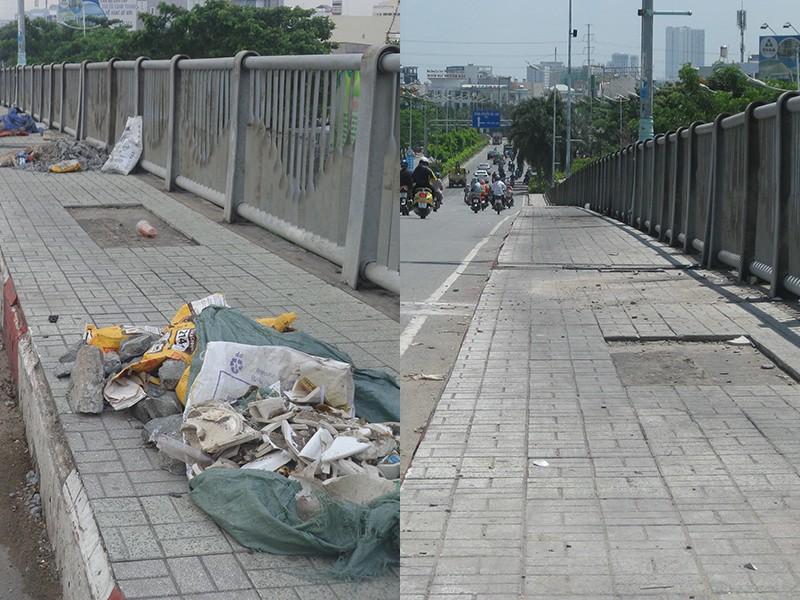 Đã sạch rác trên cầu Tân Thuận - ảnh 1