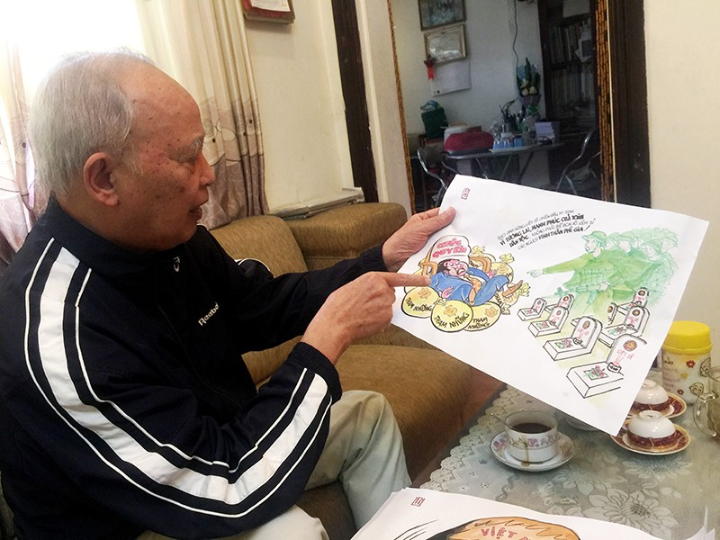Cụ ông 86 tuổi vẫn miệt mài với tranh biếm - ảnh 1