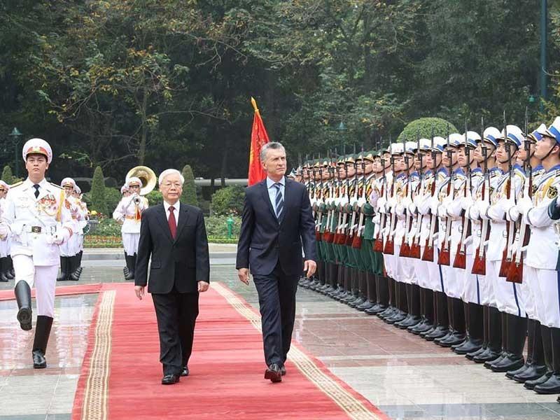Tổng Bí thư, Chủ tịch nước chủ trì lễ đón tổng thống Argentina - ảnh 1
