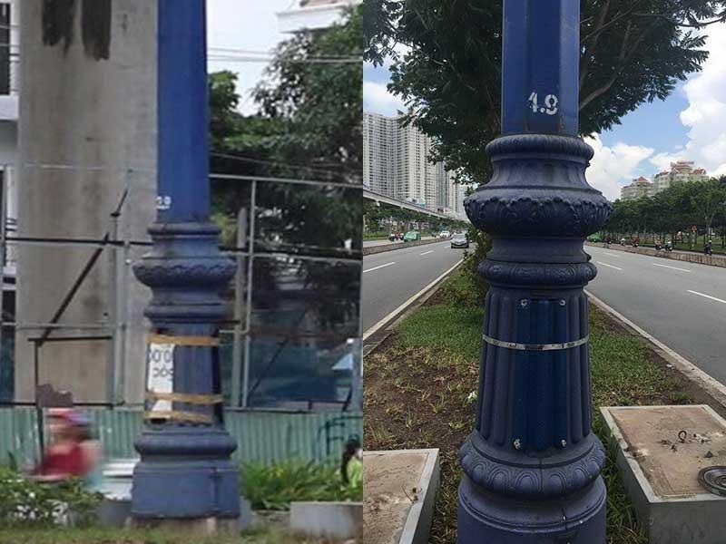 Đã khắc phục trụ đèn không nắp trên xa lộ Hà Nội - ảnh 1