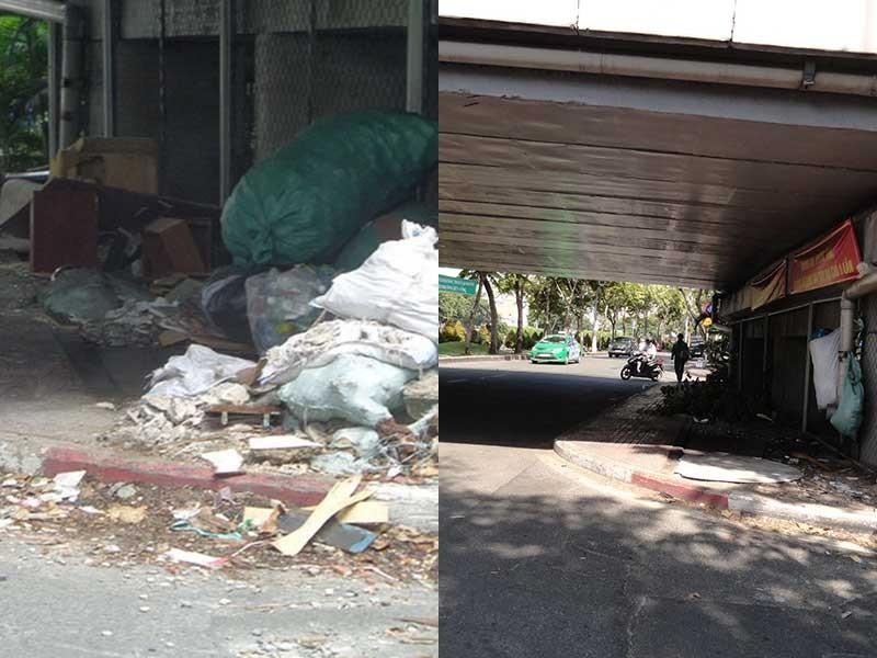 Đã dọn bãi rác dưới gầm cầu đường Hoàng Sa - ảnh 1