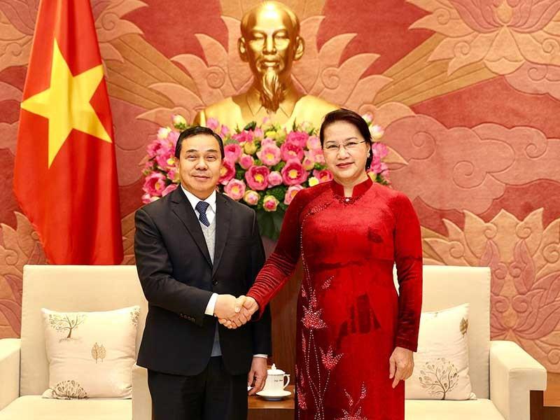 Chủ tịch Quốc hội Nguyễn Thị Kim Ngân tiếp tân đại sứ Lào - ảnh 1