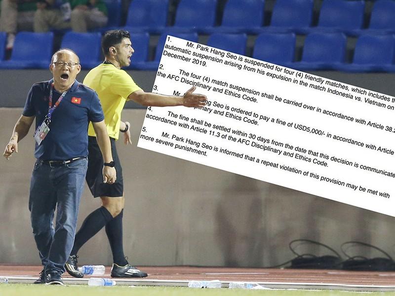 Ông Park bị cấm chỉ đạo bốn trận… - ảnh 1