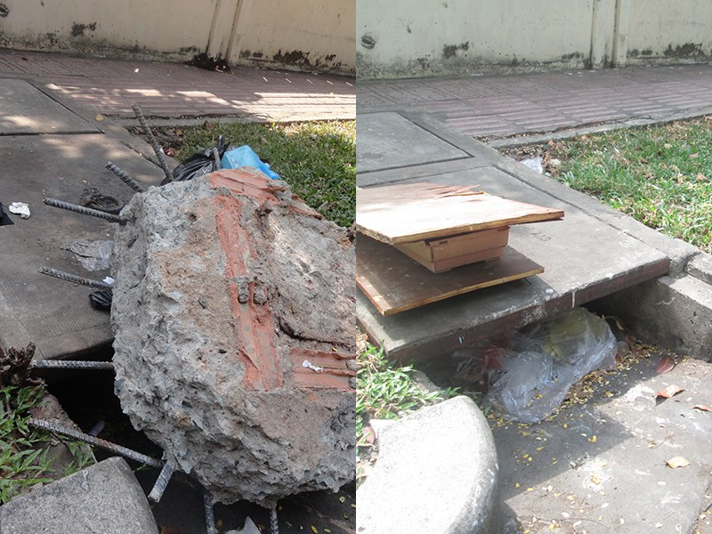 Đã dẹp khối bê tông nguy hiểm trên đường - ảnh 1