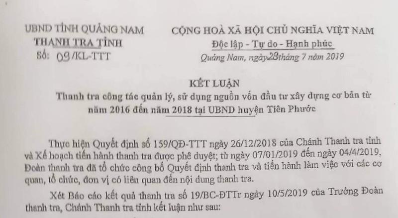 Quảng Nam: Huyện Tiên Phước nhiều sai phạm trong đầu tư  - ảnh 1