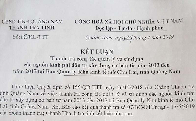 Hàng loạt sai phạm tại Khu kinh tế mở Chu Lai - Quảng Nam - ảnh 1