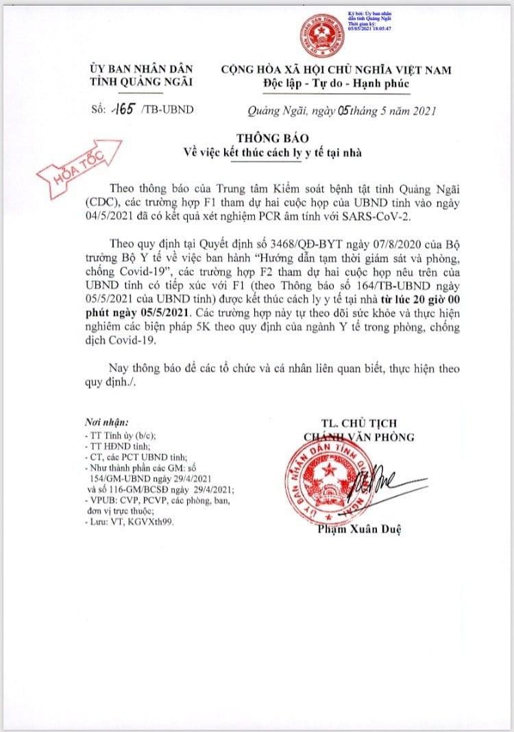 Kết quả xét nghiệm 8 F1 là lãnh đạo, cán bộ tỉnh Quảng Ngãi - ảnh 1