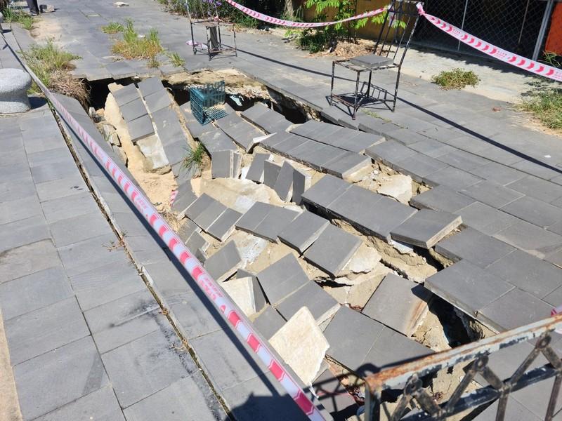 Kè bảo vệ phố cổ Hội An hơn 135 tỉ bị sụt lún  - ảnh 2