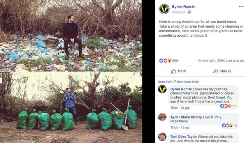 Thú vị trào lưu 'thách thức dọn rác' gây bão mạng thế giới - ảnh 1