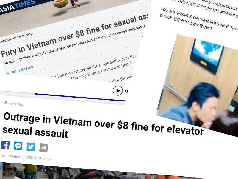 Vụ ép hôn trong thang máy phạt 200 ngàn tại VN lên báo quốc tế - ảnh 1