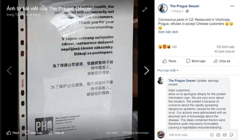 Nhà hàng Việt ở Czech xin lỗi vì cấm khách Trung Quốc - ảnh 1