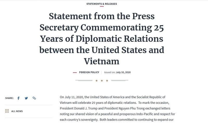 Nhà Trắng: Mong tương lai tươi sáng hơn cho Hoa Kỳ và Việt Nam - ảnh 1