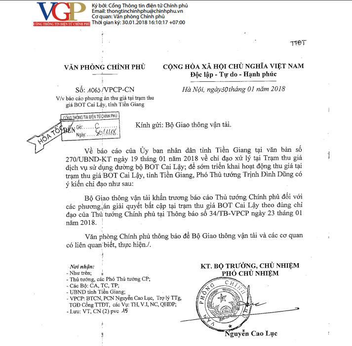 Yêu cầu Bộ GTVT khẩn trương báo cáo vụ BOT Cai Lậy - ảnh 1