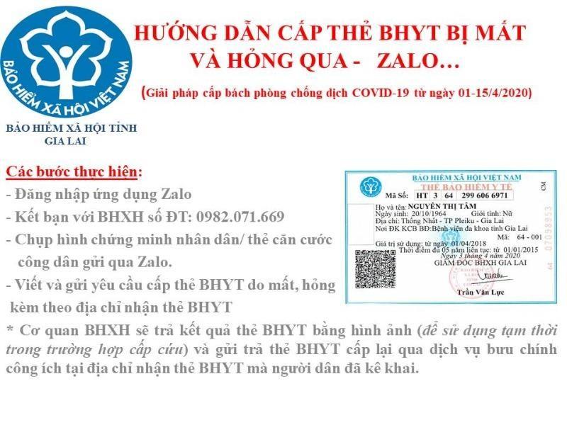 COVID-19: Gia Lai cấp thẻ bảo hiểm y tế qua Zalo - ảnh 1
