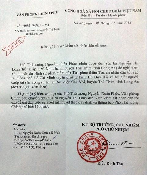 Vụ tử tù Hồ Duy Hải: Phó Thủ tướng gửi công văn hỏa tốc - ảnh 1