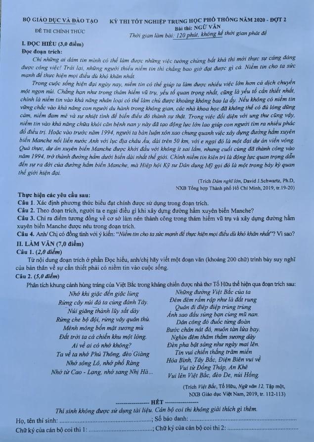 Đề thi môn văn kỳ thì THPT - đợt 2: Niềm tin cho ta sức mạnh - ảnh 1