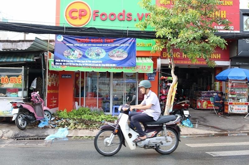 Điểm bán hàng ở số 419 Nơ Trang Long, quận Bình Thạnh, TP.HCM vẫn đang giúp người dân Đồng Nai tiêu thụ chuối.