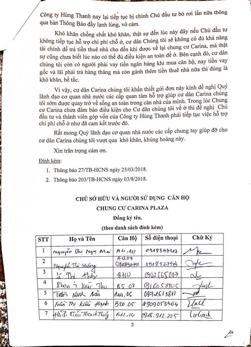 Cư dân Carina làm đơn cầu cứu Bí thư Nguyễn Thiện Nhân - ảnh 3