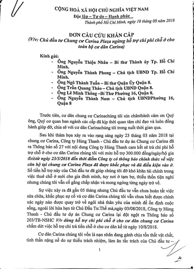 Cư dân Carina làm đơn cầu cứu Bí thư Nguyễn Thiện Nhân - ảnh 2