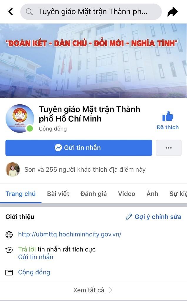 Uỷ ban MTTQ Việt Nam TP.HCM có trang Facebook riêng - ảnh 1