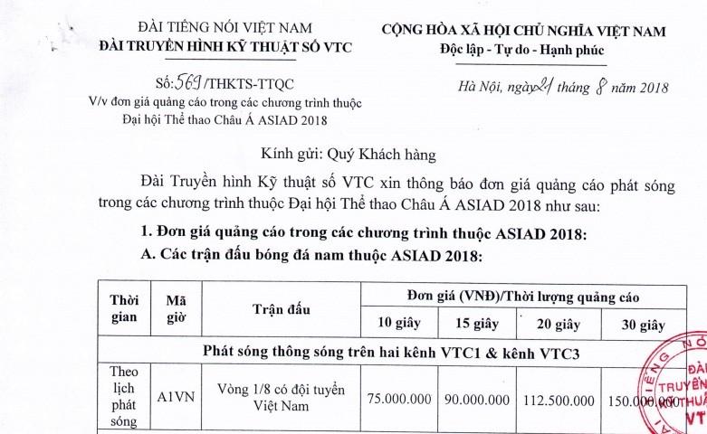 Olympic VN thi đấu, VTC chào giá 150 triệu/30 giây quảng cáo - ảnh 1