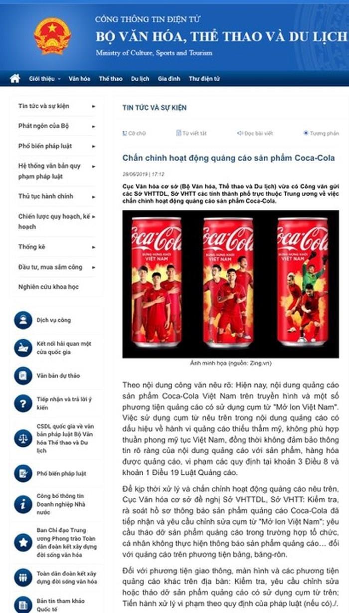 Bộ VH-TT&DL lên tiếng về quảng cáo 'mở lon' của Coca- Cola - ảnh 1