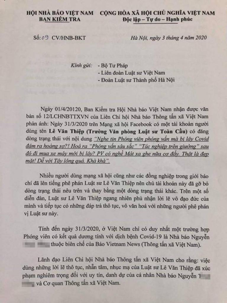 Đề nghị xử lý vụ tài khoản Lê Văn Thiệp xúc phạm phóng viên - ảnh 1