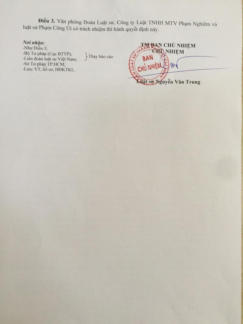Xóa tên luật sư Phạm Công Út khỏi Đoàn Luật sư TP.HCM  - ảnh 2
