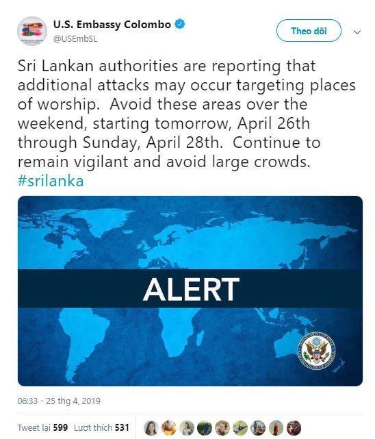 Cảnh báo nguy cơ tấn công mới ở Sri Lanka - ảnh 1