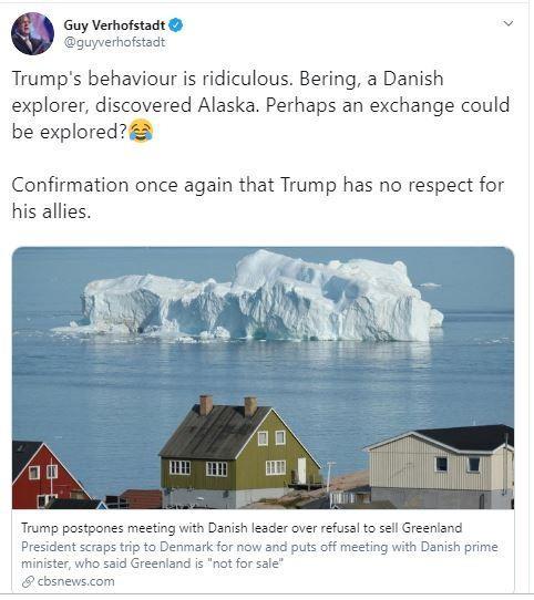 Cựu thủ tướng Bỉ mỉa mai ông Trump: 'Đổi Alaska lấy Greenland' - ảnh 1
